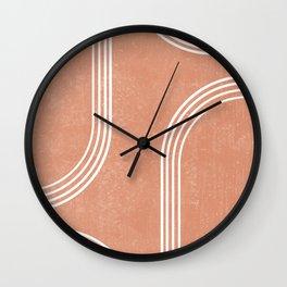 Mid Century Modern 2 - Geometrical Abstract - Minimal Print - Terracotta Abstract - Burnt Sienna Wall Clock