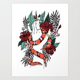 HAND WITH SNAKE RED Art Print