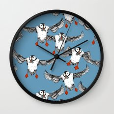 Atlantic Puffins blue Wall Clock