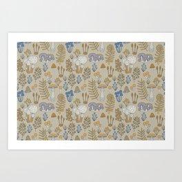 Wild Mushrooms in Blue Art Print