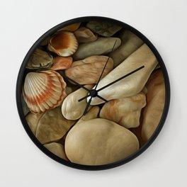 Sea Pebbles With Shells Wall Clock