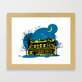 Scary house in the night Framed Art Print