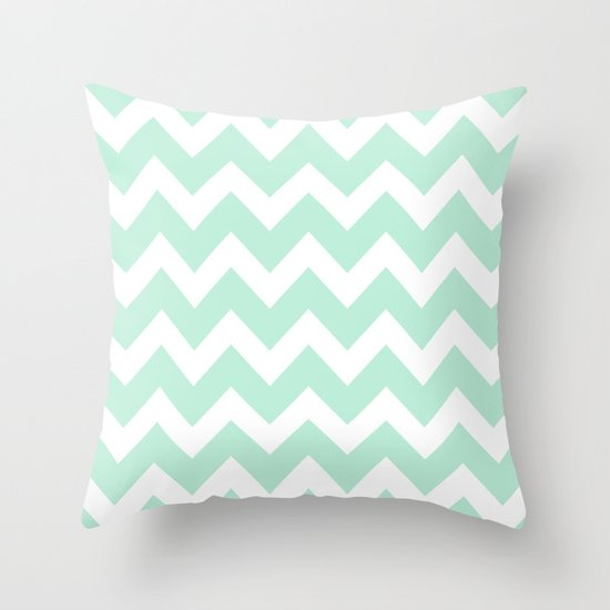 Chevron Mint Green & White Throw Pillow