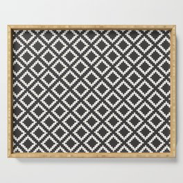 kilim black and white Serving Tray