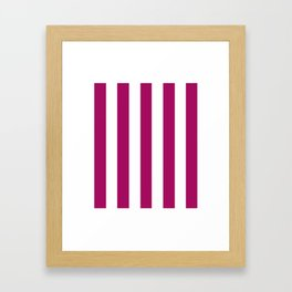 Jazzberry jam violet - solid color - white vertical lines pattern Framed Art Print