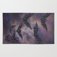 bats Area & Throw Rugs featuring midnight bats by Sarah Knight