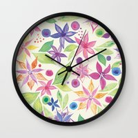 leah flores Wall Clocks featuring Flores by JuanaViEs
