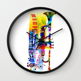 Abstract colorful music instrument painting.Trumpet, piano, musical notes, color splash, treble clef Wall Clock