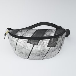 Piano Keys black and white Fanny Pack