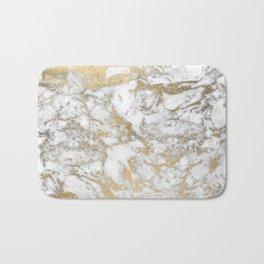 Modern chic faux gold white elegant marble Bath Mat