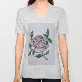 Pink And White Rose Unisex V-Neck