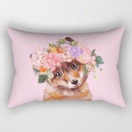 Baby fox with Flower Crown Rectangular Pillow