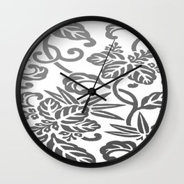 Gray Ombre Japanese Leaf Pattern Wall Clock