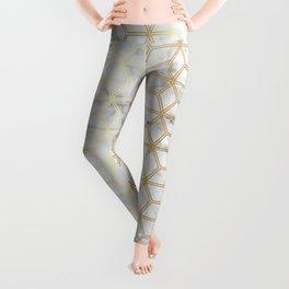 Geometric Hive Mind Pattern - Marble & Gold #510 Leggings