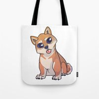 shiba Tote Bags featuring Shiba Inu by Suzanne Annaars