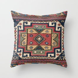 Cowboy Sumakh // 19th Century Colorful Red White Blue Western Lone Star Dallas Ornate Accent Pattern Throw Pillow