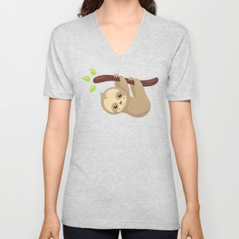 Cute Sloth Hanging From Tree Branch, Lazy Sloth Unisex V-Neck