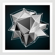 3d art black and white Art Print