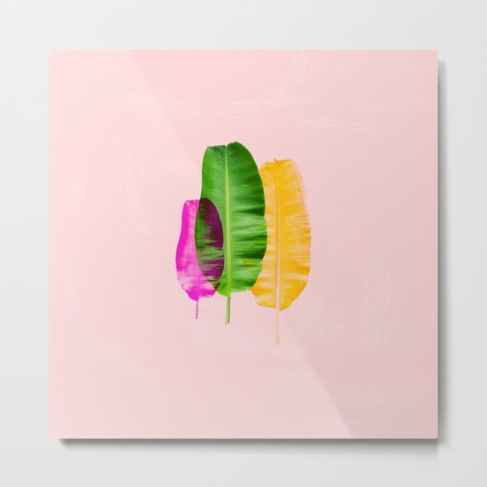 Bright Pink Colorful Banana Leaves Metal Print