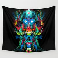 avatar Wall Tapestries featuring Neon Owl Avatar by Spires