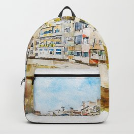 Aquarelle sketch art. Colorful houses and reflected in water river Onyar, in Girona, Catalonia, Spain Backpack