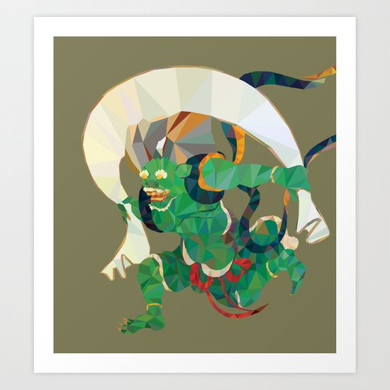 polygonal representation of Fūjin (japanese god of wind) Art Print
