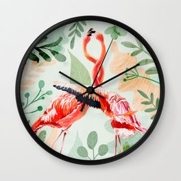 Flamingo Love Wall Clock