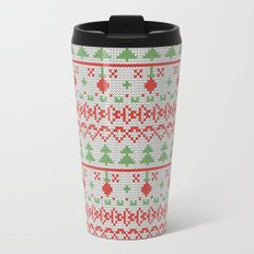 2 Knitted Christmas pattern in retro style pattern Metal Travel Mug