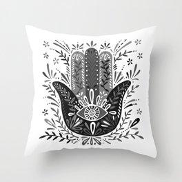 Hamsa Hand – Black & Grey Palette Throw Pillow