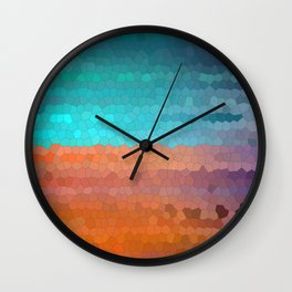 Unusual simple desert mosaic landscape. Sky and dunes Wall Clock