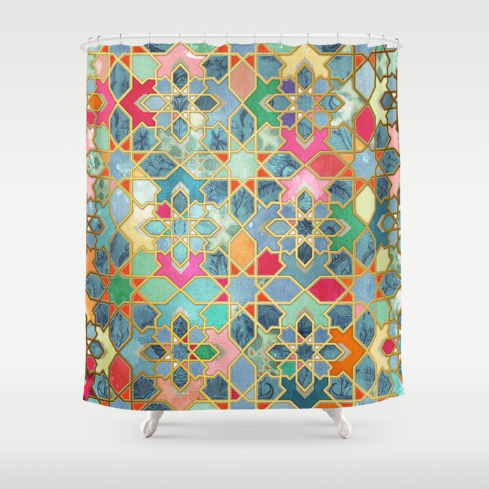 Gilt U0026 Glory   Colorful Moroccan Mosaic Shower Curtain