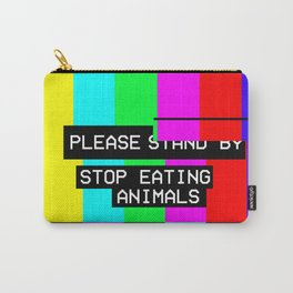 Please Stop Eating Animals Glitch  Carry-All Pouch