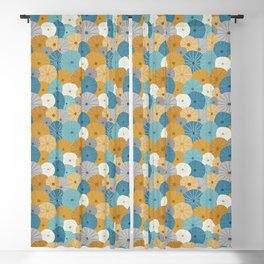 Sea Urchins in Blue + Gold Blackout Curtain