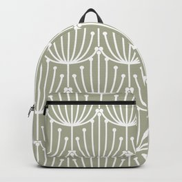 Retro Art, Floral Prints, Light Sage Green and White Backpack