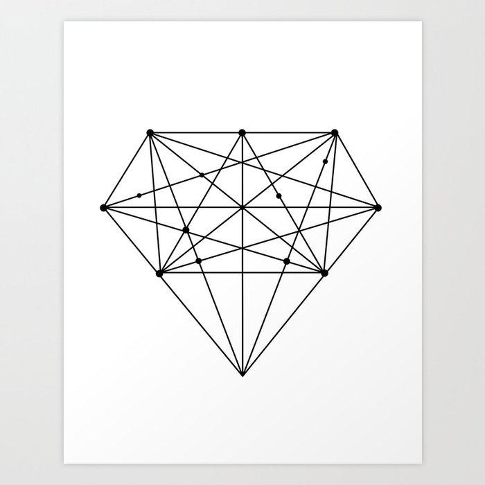 Geometric Diamond black-white poster design lowpoly fashion home ...