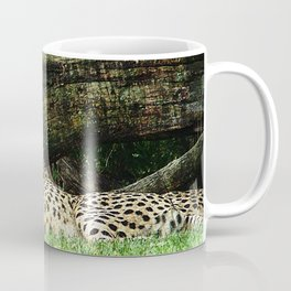 Two Cheetahs Lounging in Grass in Front of Log, Grunge Photograph Coffee Mug