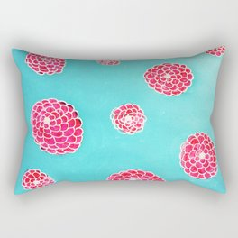 Pink flowers in blue Rectangular Pillow