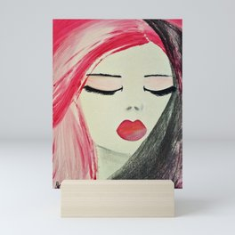 Shy Girl. Abstract Pink Girl. Pink Lips. Pink Hair. Jodilynpaintings. Eyelashes. Gift for All Girls. Mini Art Print