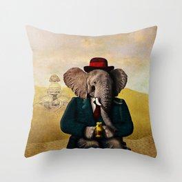 Mr. Preston J. Pachyderm visits the Sphinx Throw Pillow