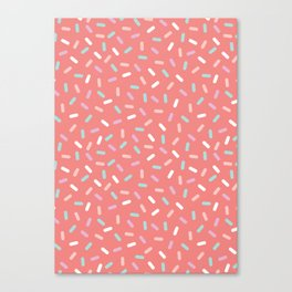 Coral Sprinkle Confetti Pattern Canvas Print