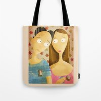 lovers Tote Bags featuring Lovers by gazonula