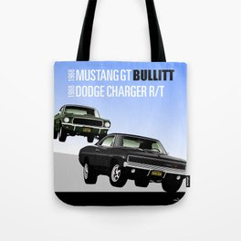 Ford Mustang and Dodge Charger from Bullitt Tote Bag
