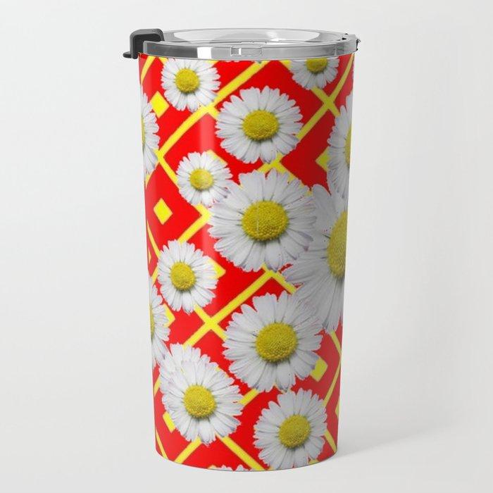 White-Yellow Shasta Daisies Red Pattern Art Travel Mug