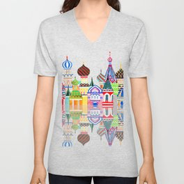 Colorful Home or Nursery Russian Architecture Cathedral Red Square Buildings Middle East Palace Unisex V-Neck