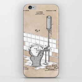 patent art Rhodes Water Closet 1899 iPhone Skin
