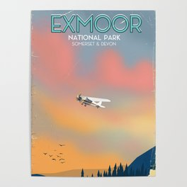 Exmoor National park vintage travel poster. Poster