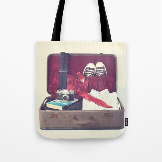 Vintage Journey Suitcase (His) (Retro and Vintage Still Life Photography) Tote Bag