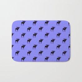 Bull Moose Silhouette on Periwinkle Bath Mat