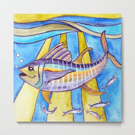 Y is for Yellowfin Tuna Metal Print