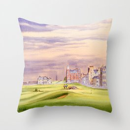 St Andrews Golf Course Scotland 17th Green Throw Pillow